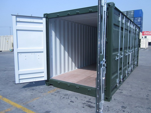 20 39 open side green ral 6007 shipping containers. Black Bedroom Furniture Sets. Home Design Ideas